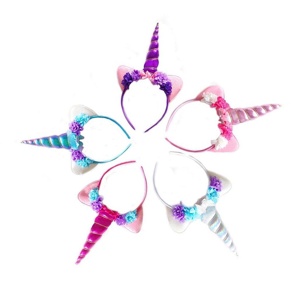 Zeekoo Unicorn Party Supplies Set,Baby Unicorn Horn Headband Rose Flower Hairband Animal Photo Props with Glitter Ears,Unicorn Birthday Cosplay for Girls Children Gift Halloween Party Costume(5 Pack)
