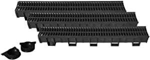 US TRENCH DRAIN, 83300-3 - 10 ft RegularTrench Drain - Black Polymer, Heel Friendly Grate - Pack with 2 End Caps - For Drainage Systems, Driveway, Basement, Pools, etc.