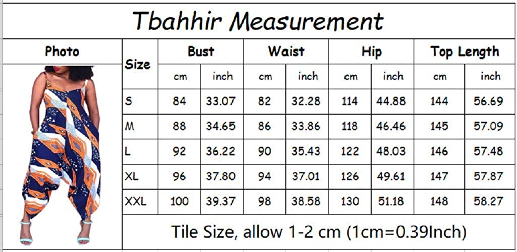 Tbahhir Womens Spaghetti Strap Ethnic Jumpsuit Comfy Loose Fit Harem One Piece Rompers Outfits Plus Size