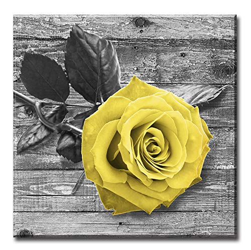 Yellow Rose Wall Art - Black Gray Flowers Wall Art Canvas Paintings for Living Room decorations women Bedroom home decor Ready to Hang 16 x 16inch