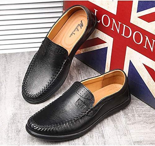 del Ocasionales Negro Negro tamaño del cómodos Hombres los los resbalón Zapatos 5 Mens Zapatos para HhGold Cuero Color de US UK 6 5 de Hombres 5 pTwtxIqx