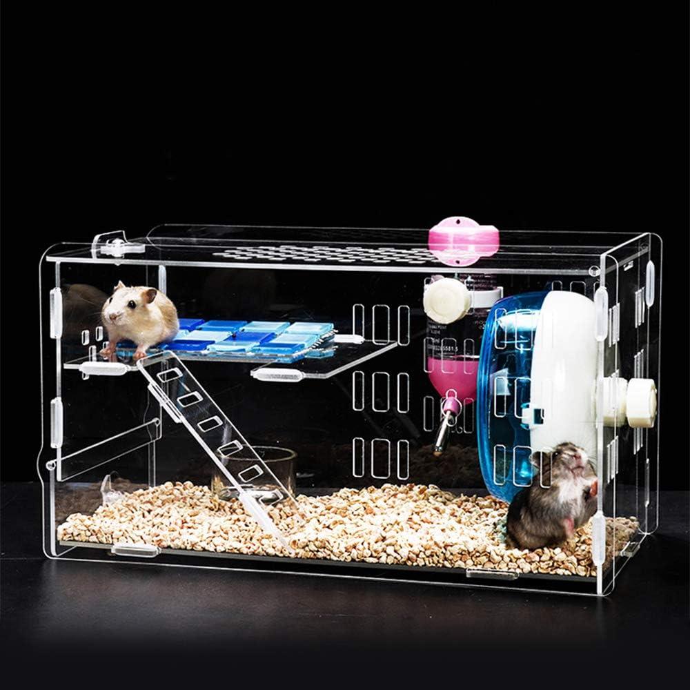 KEBY 2020 Jaula de hámster de acrílico con cuenco transparente para alimentos, hervidor, rueda de 12 cm, jaula para hámster de animales pequeños, con accesorios