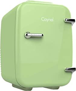 CAYNEL Mini Fridge Cooler and Warmer, (4Liter / 6Can) Portable Compact Personal Fridge, AC/DC Thermoelectric System, 100% Freon-Free Eco Friendly for Home, Office and Car (Light green)