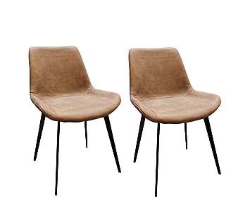 meubletmoi lot de 2 chaises marron effet vieilli design vintage scandinave industriel huggy - Chaise Vintage Scandinave