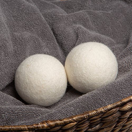 WOOLITE Reusable Wool Laundry Dryer Balls, Cuts Drying Time in Half, Natural Fabric Softener, Reduces Clothing Wrinkles, Eco-Friendly, Money Saver, 2-Pack