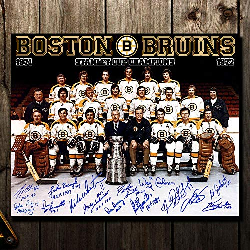 1972 Boston Bruins Stanley Cup Champions Team Autographed 16x20 Signed by 14 - Autographed NHL Photos