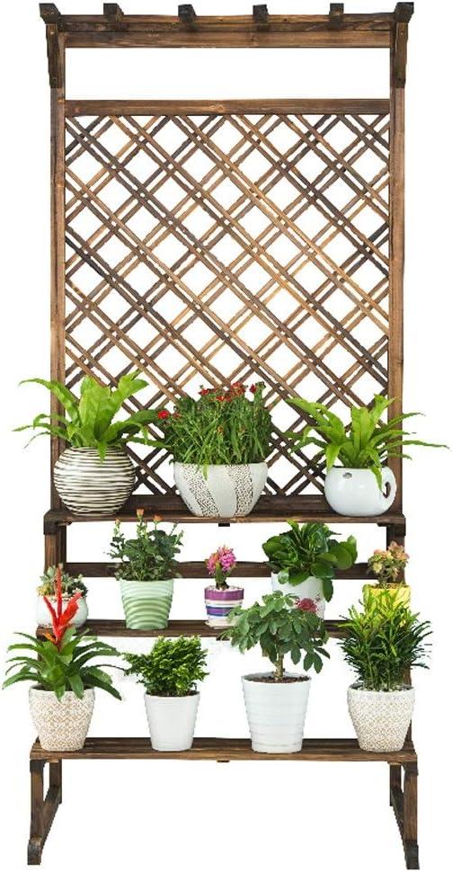IUYWL Leiter Holz Flower Stand im Freien Balkon Mehrschichtige Holzboden Gitter Debris-Rack Blumenstand