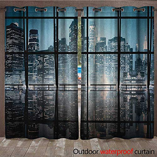 Modern Outdoor Waterproof Curtain Modern New York City Scenery at Night with Skyscrapers Buildings PrintW120 x L84 Black and Dark Blue ()