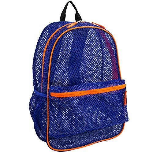 Eastsport Active Mesh Backpack with Padded Adjustable Straps, Blue/Orange Trim