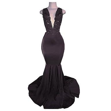 BridalAffair Olive Green Mermaid Prom Dress V-Neck Satin Beaded Lace ...