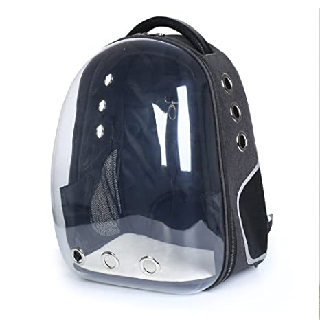 Pet Cat Portátil Mochila Portador Pet Travel Space Cápsula Burbuja Mochila Transparente Transpirable Bolso Negro Portador