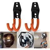 Motorcycle Accessories,PEI Orange Wall Mount Helmet Half Full Shield Helmet Hook Holder x2 Small Double Iron Curved Hook…