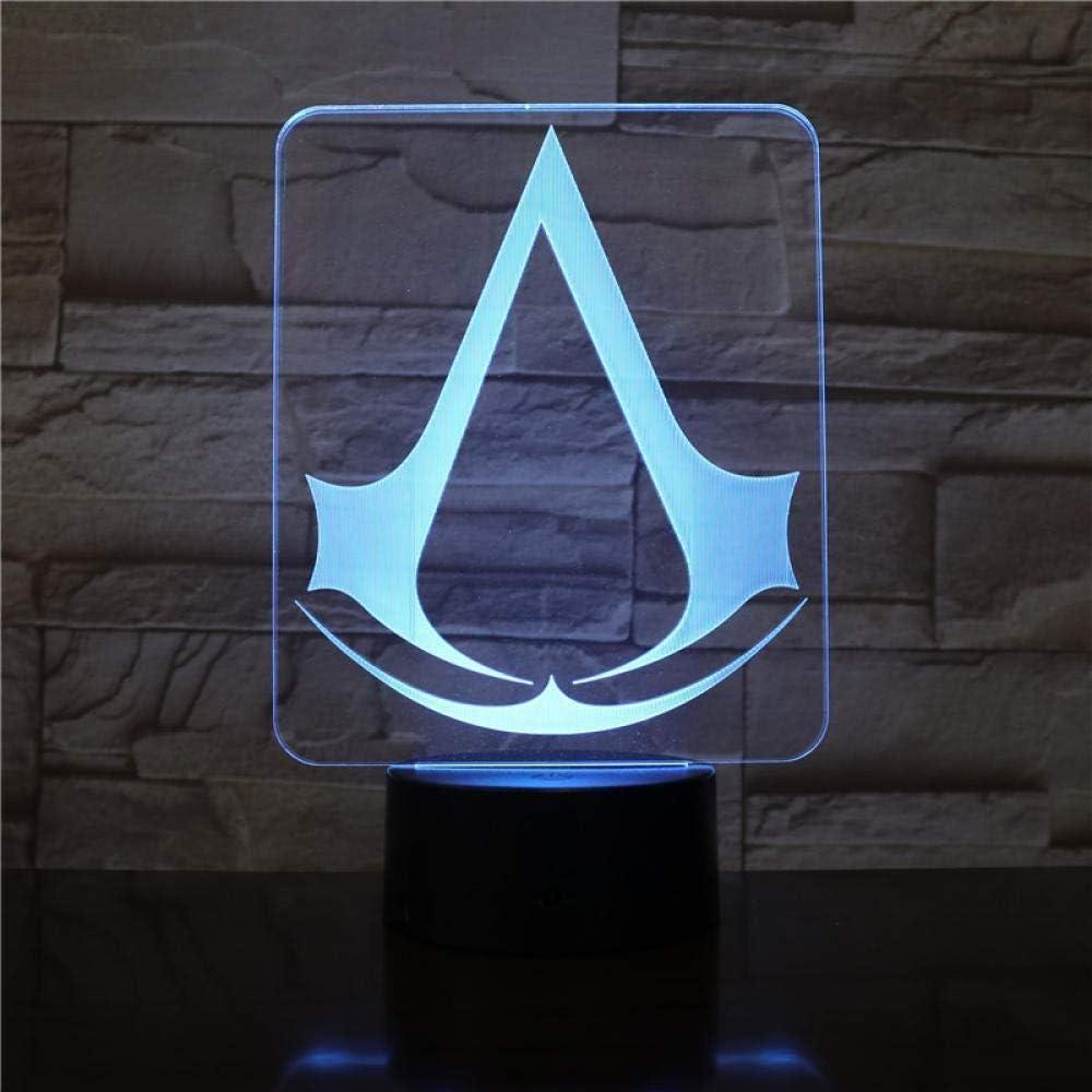 Avec logo Veilleuse 3D Assassins Creed Lampe de chevet /à LED Pour enfants Changement de couleur D/écoration de chambre
