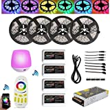 Firstsd 20M (4x16.4ft) 5050 RGBW (RGB+Cool White) Mi Light Timer WIFI Led Strip Tape Lights + 4pcs 4-ZONE Dimmable Remote Controller + 20A Power (Non-waterproof strips, 5050RGBW(RGB+cool white))
