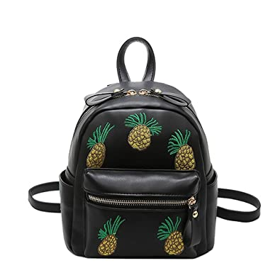 Amazon.com  YSMYWM Womens PU Leather Embroidery Pineapple Backpack School  Satchel Shoulder Bag (Black)  Shoes bcecb71d357a5