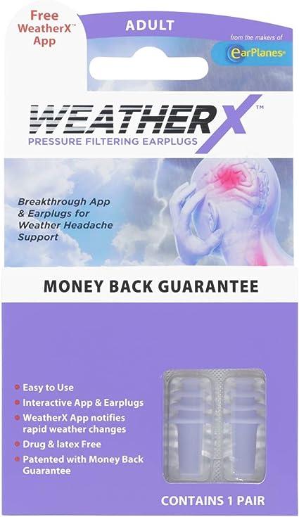 Amazon Com Weatherx Headache Prevention Pressure Filtering Earplug For Shifts In Barometric Weather Pressure Download Free Alert App Regular 1 Pk Health Personal Care