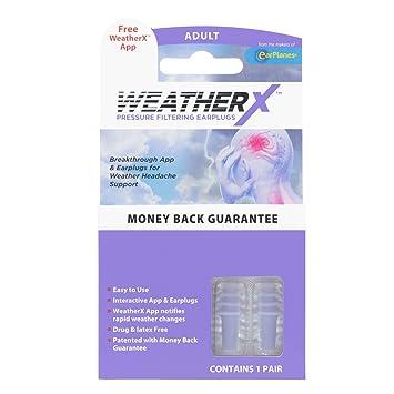 Amazon Com Weatherx Pressure Filtering Earplug For Shifts In Barometric Weather Pressure Download Free Alert App Regular 2 Pk Beauty