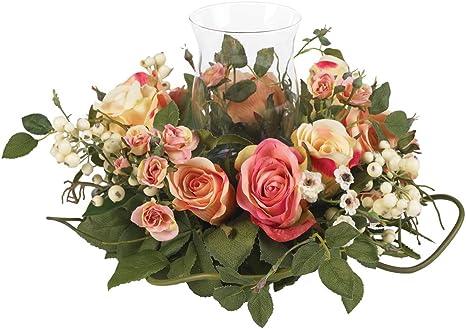 Amazon Com Nearly Natural 4685 Ap Mini Rose Candelabrum Silk Flower Arrangement Assorted Pastel Home Kitchen