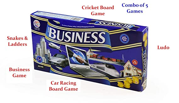 ToyMart Toy Mart Business Game Senior with Plastic Coins and 4 More Games Inside (Blue, O8-36RA-IIDC)
