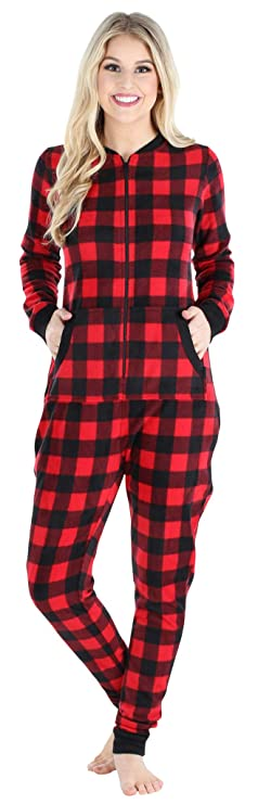 Sleepyheads Women's Fleece Non-Footed Solid Color Onesie Pajamas Jumpsuit (SH1018-5007-MED) best women's winter pajamas