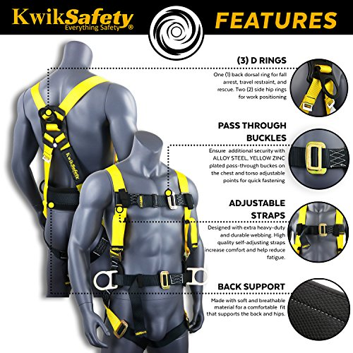 KwikSafety (Charlotte, NC) PYTHON (COMBO) Double Leg 6ft Tubular Stretch Safety Lanyard | OSHA ANSI Fall Protection EXTERNAL Shock Absorber | Construction Arborist Roofing | Snap Rebar Hook Connector by KwikSafety (Image #2)