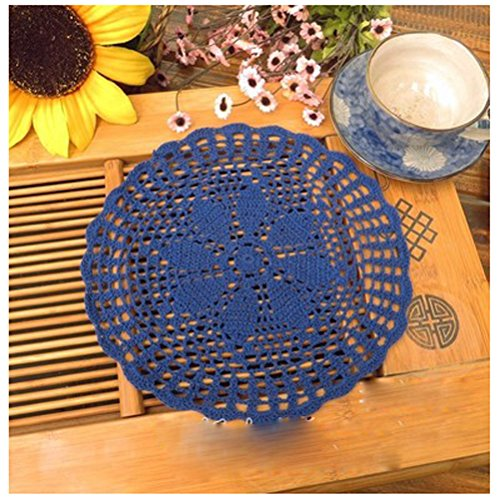 (WCHUANG Handmade Round Crochet Cotton Lace Table Doilies Placemats, 4PCS (Navy))