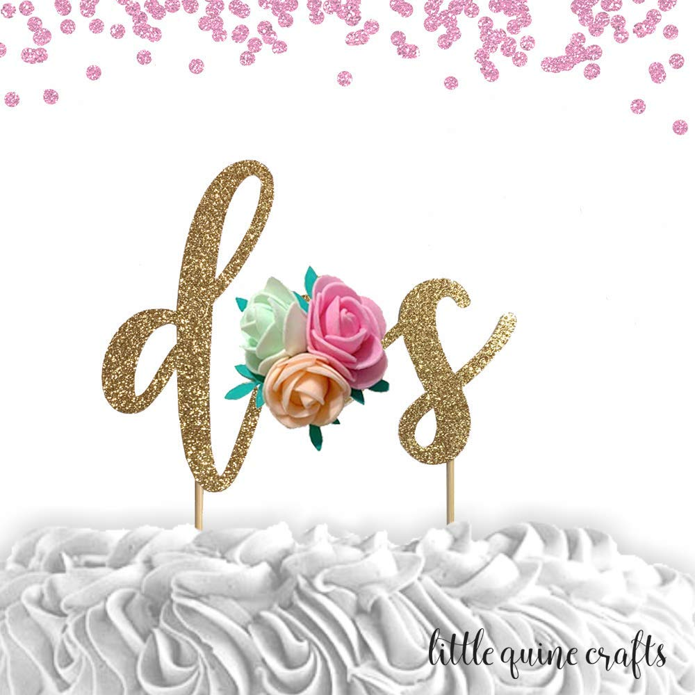 1 pc dos floral flower roses bohemian boho fiesta Gold Glitter cake topper for second Birthday cake smash spring summer she is a wildflower birthday prop toddler girl