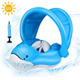 EKOOS Baby Swimming Float Ring with Canopy Blue Whale Inflatable Waist Float Ring Pool for Learning Swim Trainer for Age of 6-36 Months (L)