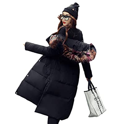 HOIHEDUJ Mid Long Fashion Outerwear Thick Color Fur Collar Female Hooded White Duck Down Overcoat