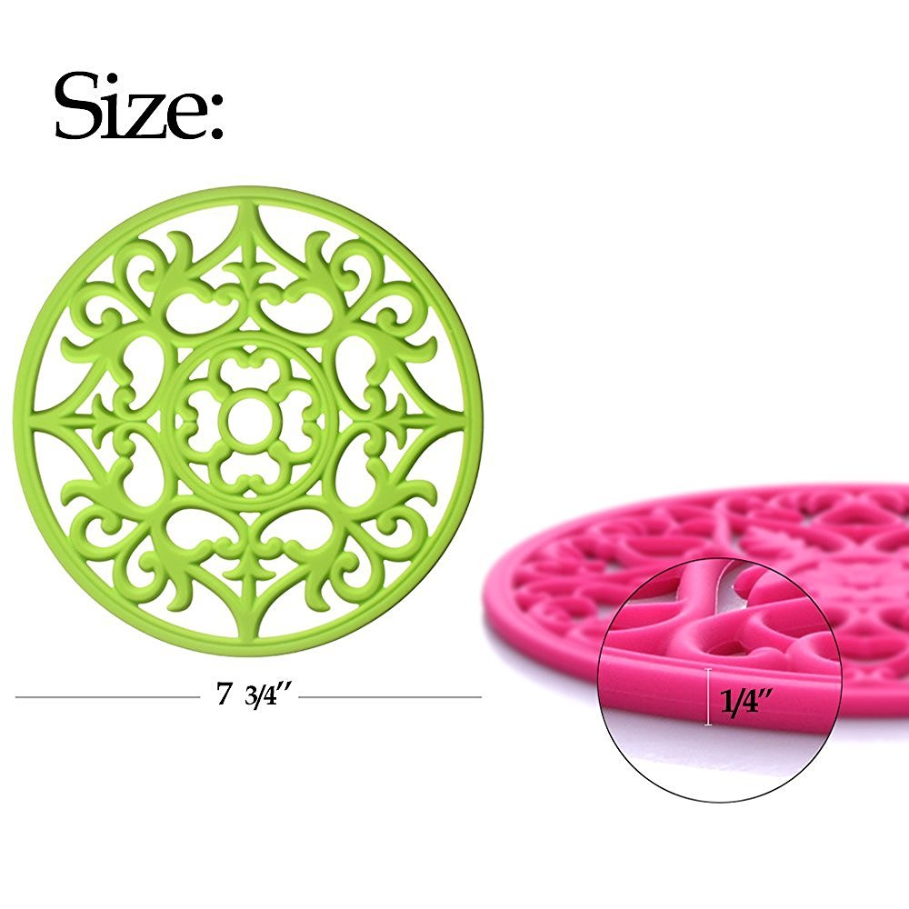 ME.FAN 3 Set Silicone Multi-Use Intricately Carved Trivet Mat - Insulated Flexible Durable Non Slip Coasters (Black) by ME.FAN (Image #3)