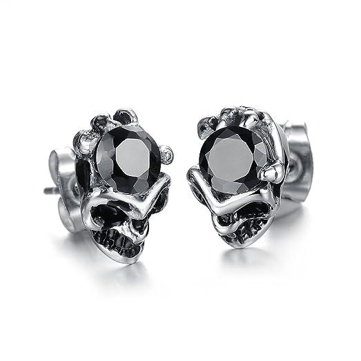 Amazoncom Fate Love Biker Stainless Steel Crystal Skull Stud