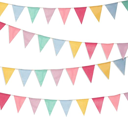 Guirnalda Banderas Banderines Arpillera de Imitación Pancarta Triángulo Decoración Colgante de Boda Bautizo Fiesta Cumpleaños Navidad (4 Cadenas 12 Banderas): Amazon.es: Hogar