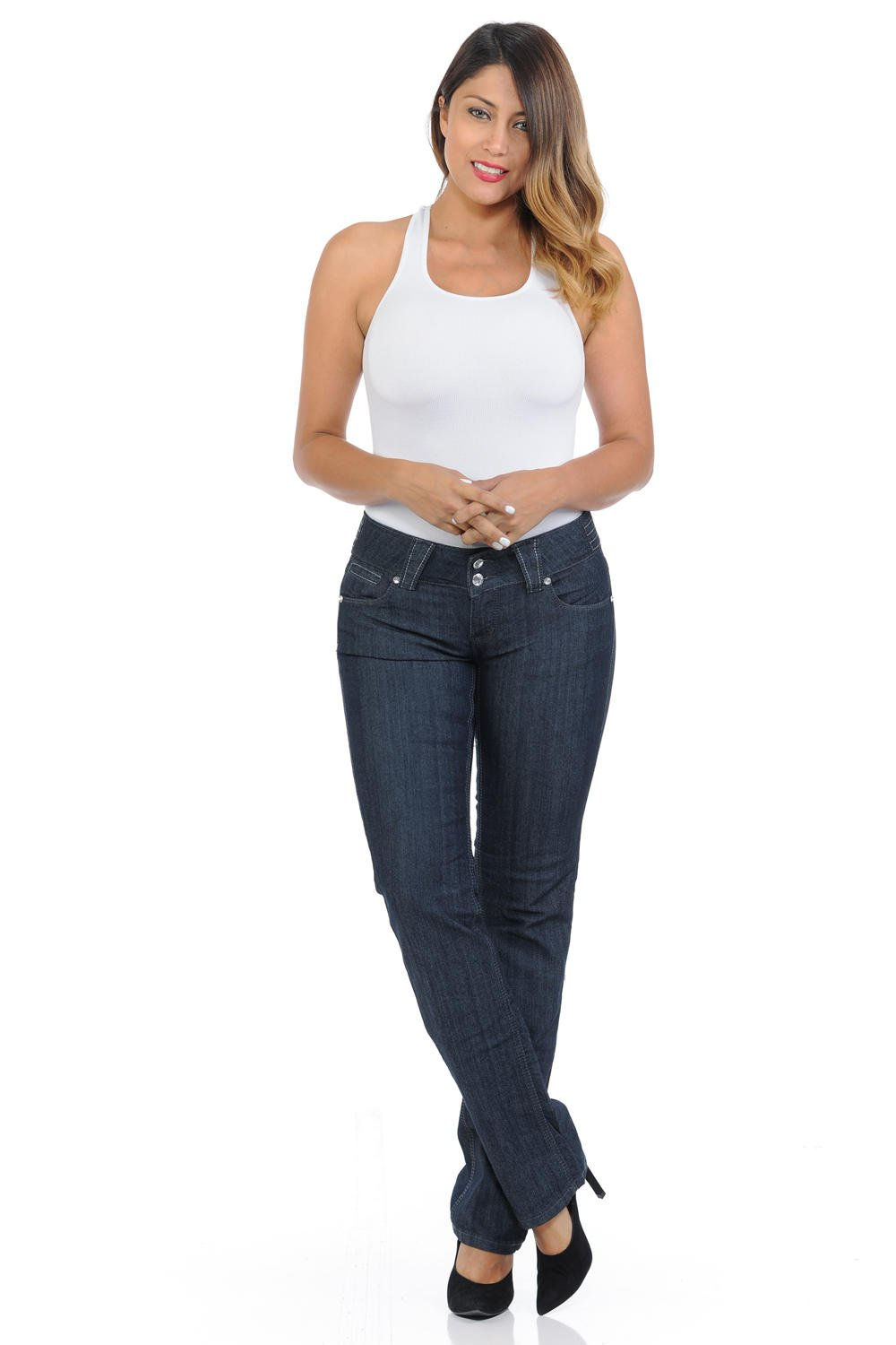 Pasion Women's Jeans · Push Up · Bootcut · Amazing Fit · Style B875 · Navy · Size 01