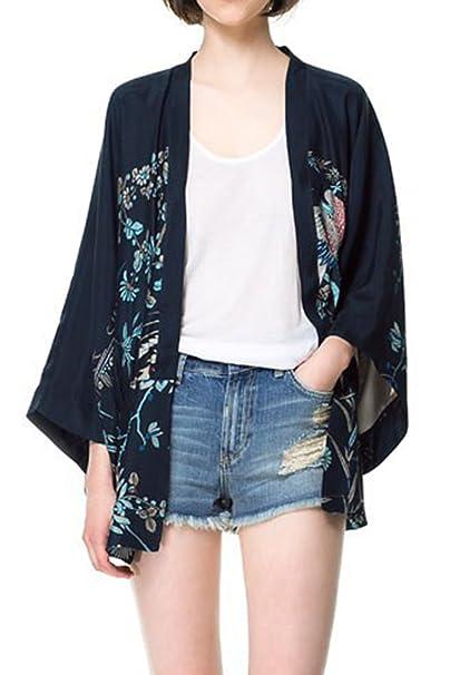 Mujeres Outwear Chaqueta Kimono Floral Frente Abierto Azul M: Amazon.es: Ropa y accesorios