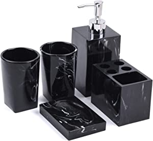 Jung Ford 5-Piece Bathroom Counter Top Accessory Set - Dispenser for Liquid Soap or Lotion, Soap Dish, Toothbrush Holder and 2 Tumblers, Marble Imitated Resin (Ink Black)