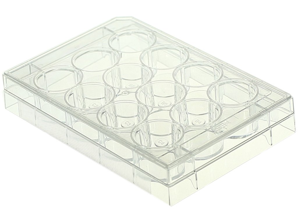 Nest Scientific 712001 Polystyrene 12 Well Cell Culture Plate, Flat Bottom, Tissue Culture Treated, Sterile, Clear, 1 per Pack, 50 per Case (Pack of 50)