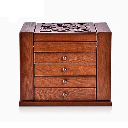 Caja de joyería de Madera Vintage 5 Capas 4 cajones con Espejo Forrado
