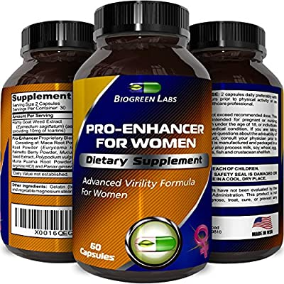 Pure & Potent Female Libido Booster Supplement With Horny Goat Weed + Icariin Enhancer - Burn Belly Fat + Build Muscle - Boost Sex Drive With Ginseng + L Arginine Supplement + Saw Palmetto By Biogreen