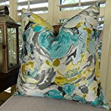 Thomas Collection Decorative Floral Throw Pillow, Teal Blue Turquoise Grey Yellow Accent Pillow, Turquoise Pillow, Modern Floral Pillow, INCLUDES POLYFILL INSERT, Made in US, 11128