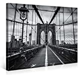 Large Canvas Print Wall Art – BROOKLYN BRIDGE WALK – 40x30 Inch New York Cityscape Canvas Picture Stretched On A Wooden Frame – Giclee Canvas Printing – Hanging Wall Deco Picture / e4262