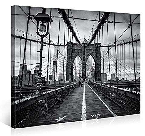 Large Canvas Print Wall Art – BROOKLYN BRIDGE WALK – 40x30 Inch New York Cityscape Canvas Picture Stretched On A Wooden Frame – Giclee Canvas Printing – Hanging Wall Deco Picture / ()