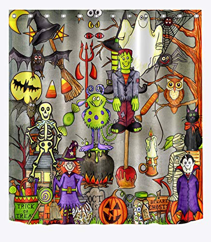 LB Witch Haunted House Vampire Black Car Spider Web Shower Curtain Set, Halloween Themed Bathroom for Kids, 59 W x 70 L Shower Window Curtain Waterproof ()
