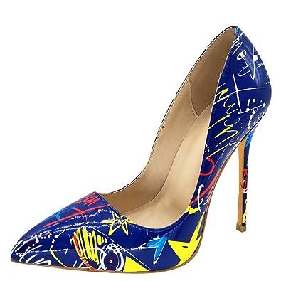 Shoes Dress Carolbar Toe Women's Stilettos Graffiti Pointed High Heels yvnm0wON8