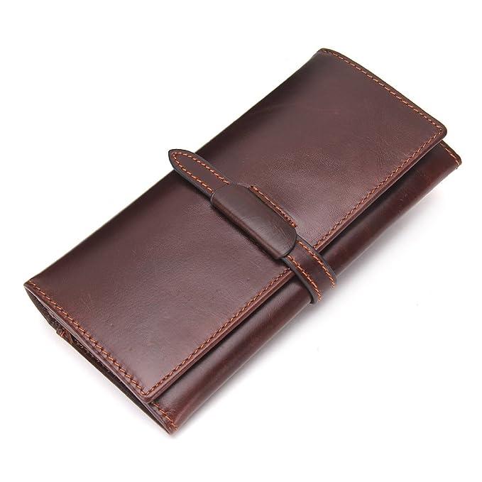 Contactos piel de vaca auténtica hombres largo cartera monedero Vintage macho bolso marrón: Amazon.es: Ropa y accesorios