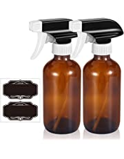 Olilia 8 oz Amber Glass Spray Bottles With Mist and Stream Settings Sprayer Top, Chalkboard Labels