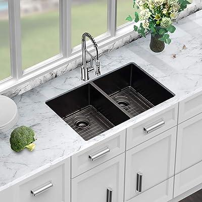 Buy Black Kitchen Sink Double Bowl Sarlai 33 Inch Kitchen Sink Undermount Gunmetal Matte Black Double Basin 50 50 16 Gauge Stainless Steel Undermount Sink Online In Vietnam B07st8t9z3