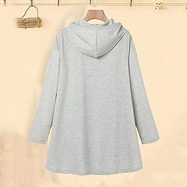 ROVNKD bluzki z kapturem, damskie, jesienno-damskie, z nadrukiem, z kapturem, luźna bluzka: Odzież