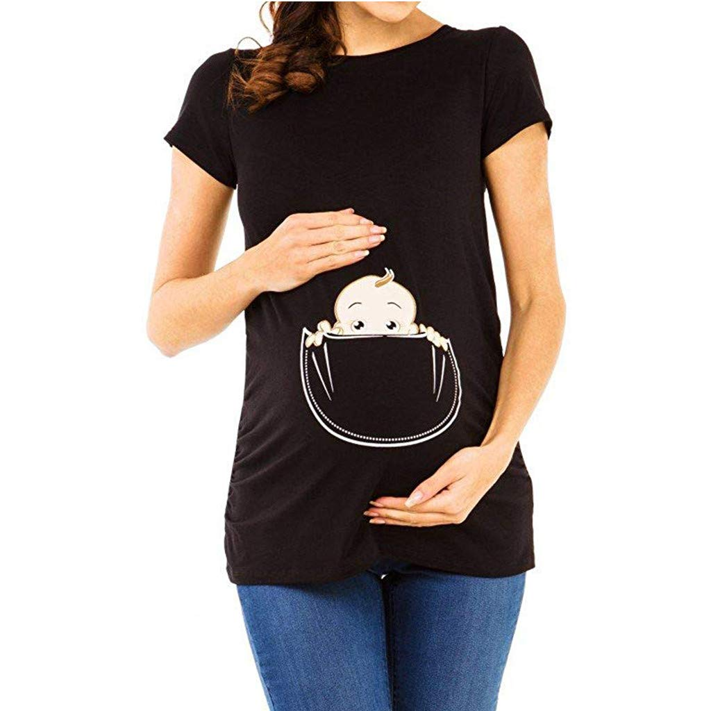 SuperUS Women's Maternity Baby in Pocket Print T -Shirt Classic Side Ruched Pregnancy Maternity Tops Black
