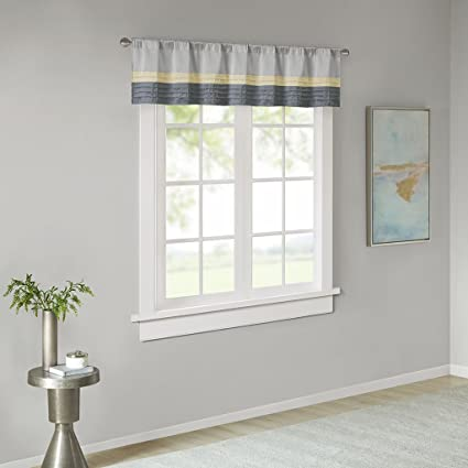 Madison Park Rod Pocket Valance Window Curtains For BedroomTransitional Modern Yellow Bedroom