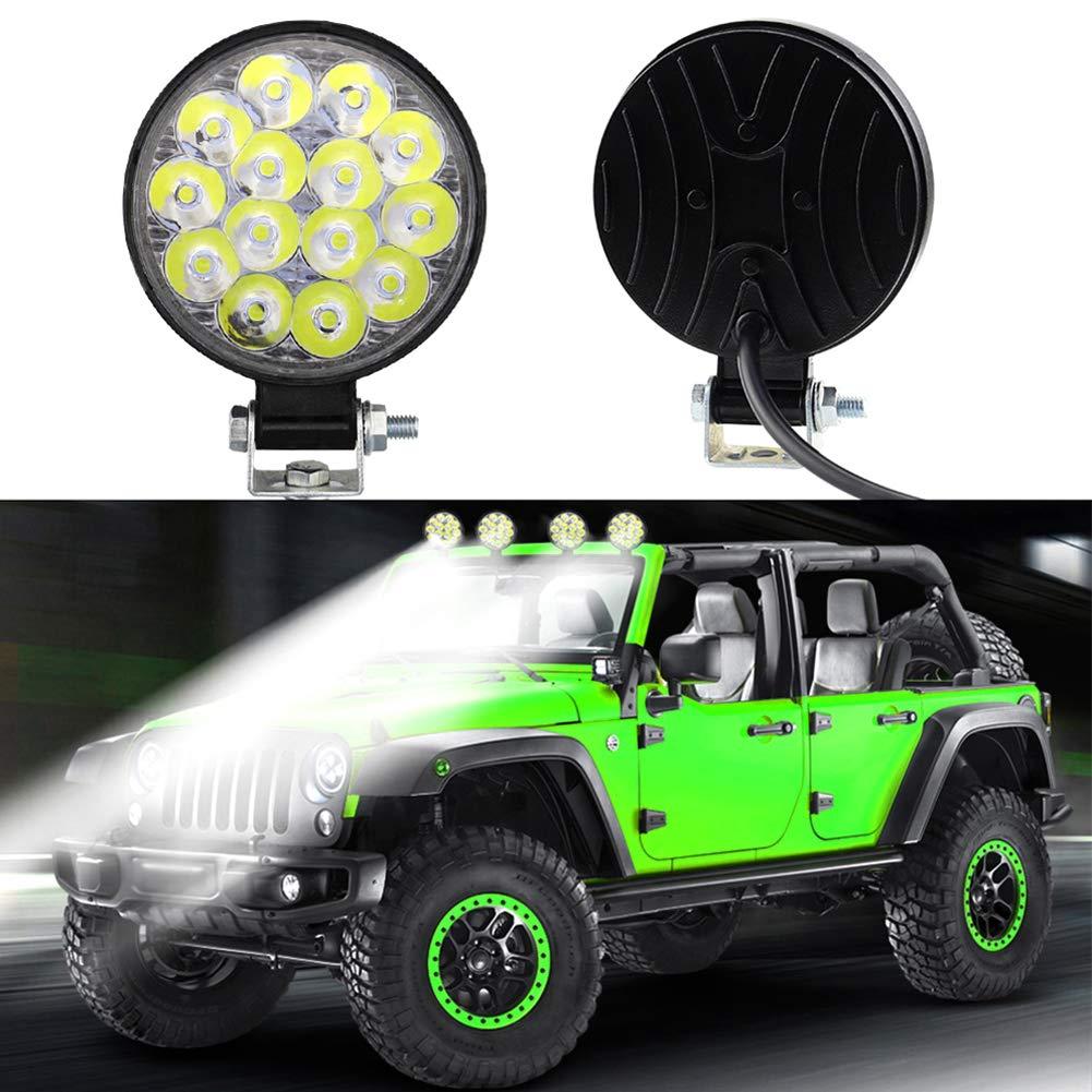 housesweet Luz de trabajo led redonda de 42w 14 faro offroad led foco bombilla de inundaci/ón luz de niebla de conducci/ón a prueba de agua para suv jeeps camiones tractores excavadora dc 10-30v